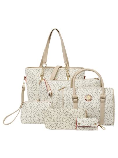 Ensemble sacs 6PCS imprimé en similicuir
