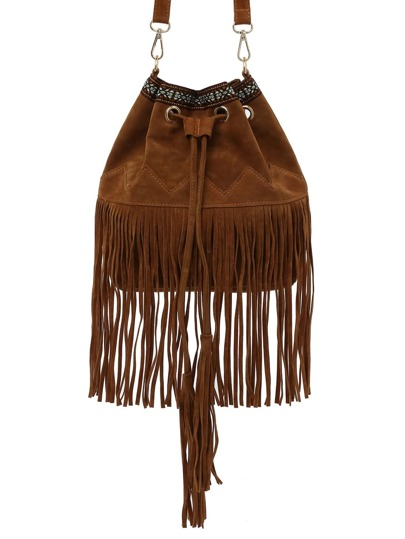Brown Faux Suede Fringe Bucket Bag