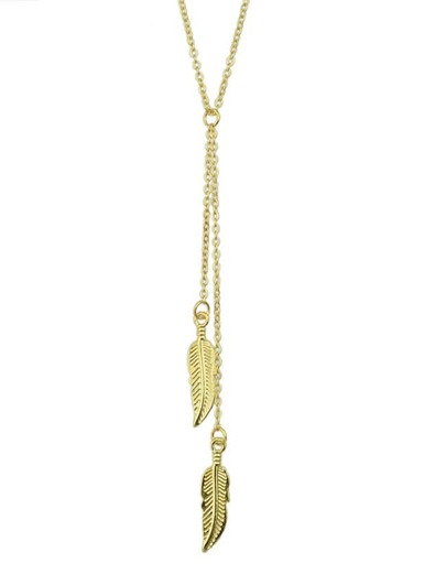Gold Long Leaf Pendant Necklace