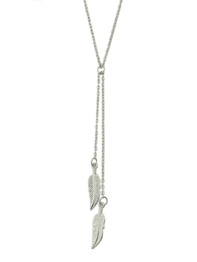 Silver Long Leaf Pendant Necklace