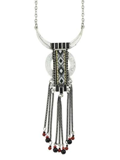 Black Long Tassel Pendant Necklace