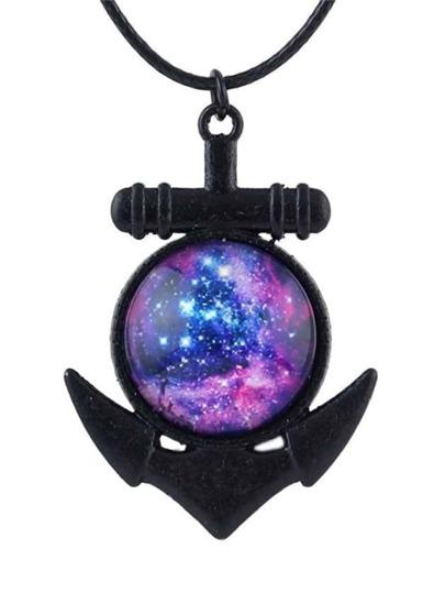 Purple Unique Space Shape Necklace