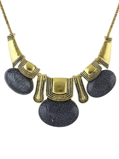 Black Turquoise Statement Collar Necklace