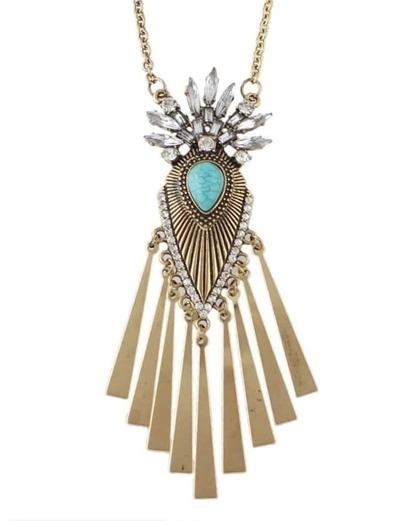 Gold Rhinestone Wing Pendant Necklace