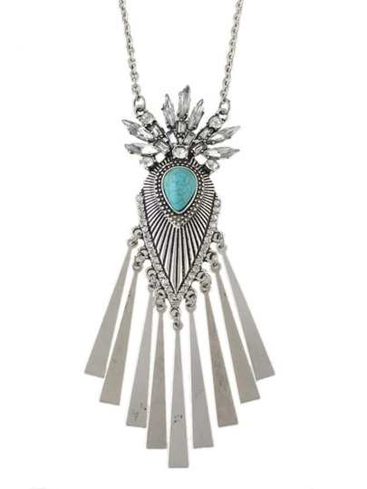 Silver Rhinestone Wing Pendant Necklace