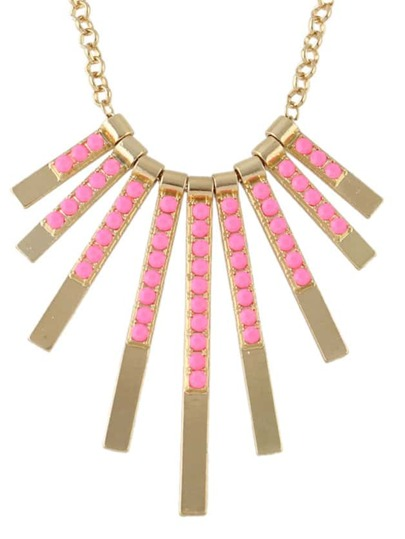 Hotpink Beads Long Pendant Necklace
