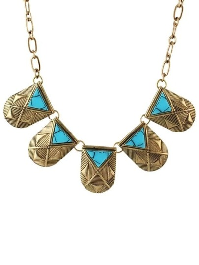Gold Plated Turquoise Statement Necklace