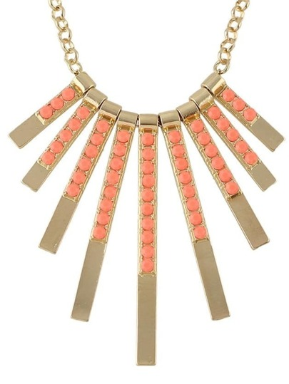 Orange Beads Long Pendant Necklace