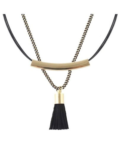 Black Double Layers Collar Necklace