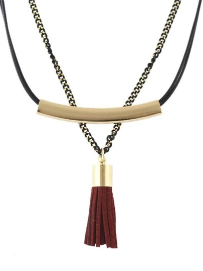 Winered Double Layers Collar Necklace
