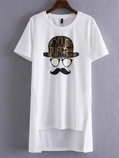 White Beard Letter Print Irregular Hem T-shirt
