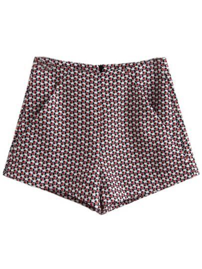 Pantaloni corti stampati con tasche chiusura lampo dietro - multicolore
