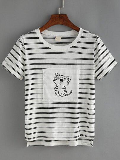 Striped Cat Print Patchwork T-shirt