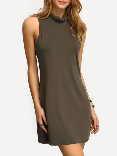 Olive Green High Neck Tank Dress