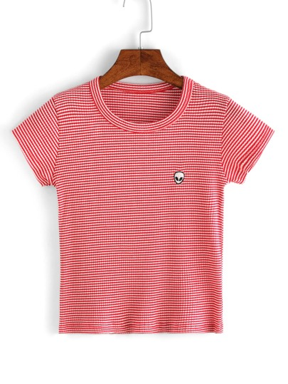 Embroidered Alien Striped T-shirt