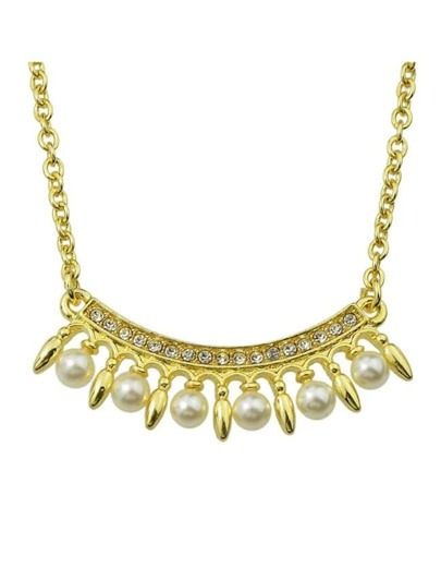 Gold Plated Rhinestone Pearl Necklace