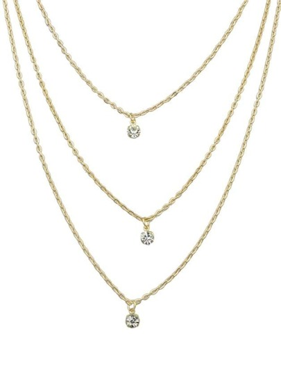 Gold Three Layers Stone Necklace