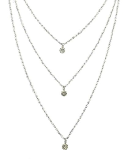 Silver Three Layers Stone Necklace