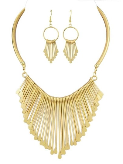Long Tassel Necklace Earrings Jewelry Set