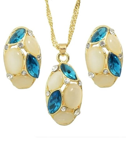 Blue Rhinestone Necklace And Earrings Set