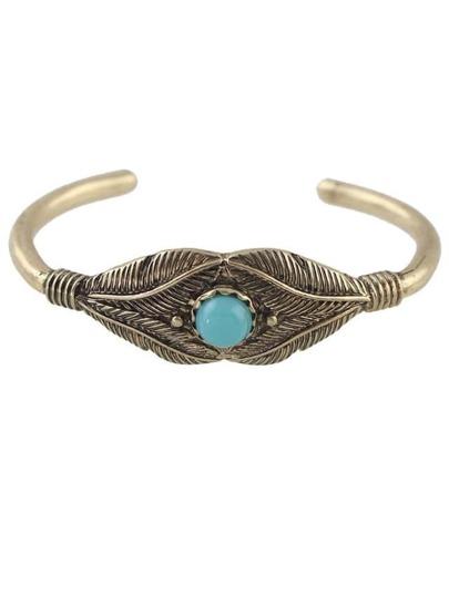 Beads Leaf Open Cuff Bracelet