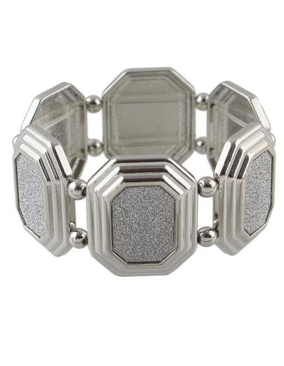 Silver Chunky Elastic Bracelet