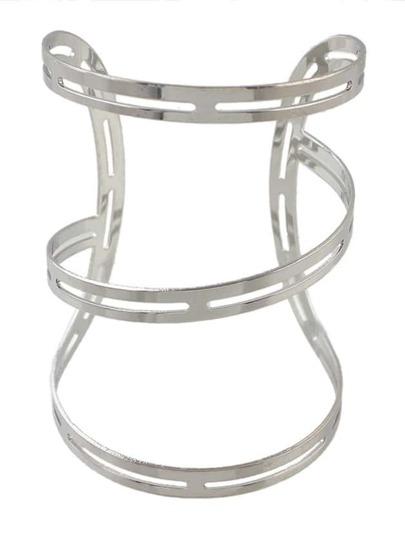 Silver Plated Oversized Cuff Bracelet