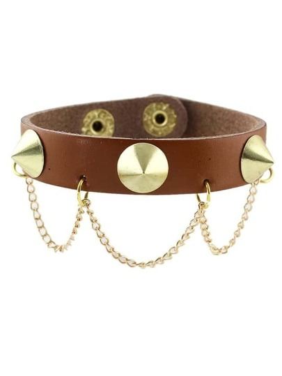 Brown Punk Spike Leather Wrap Bracelet