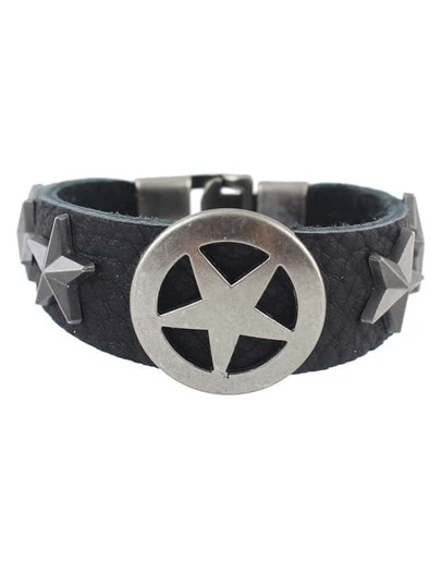 Black Punk Star Pu Leather Wrap Bracelet