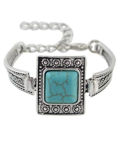 Big Single Turquoise Adjustable Bracelet