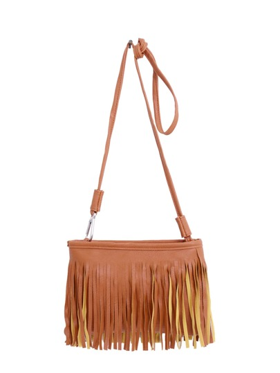 Faux Leather Tassel Crossbody Bag - Brown
