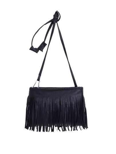 sac avec franges en similicuir -Noir