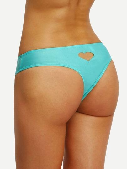 Heart Cutout Low-Rise Bikini Bottom - Green