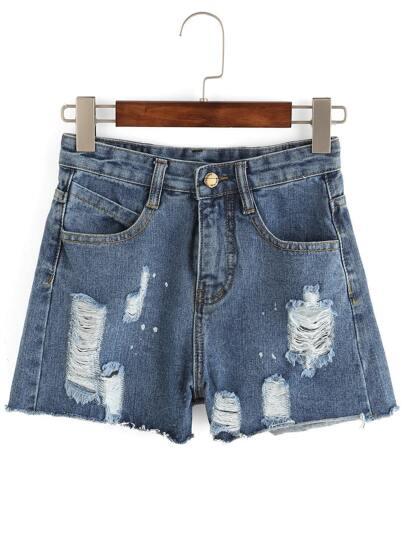 Denim Shorts mit zerrissenen Desiagns und Fransen -blau