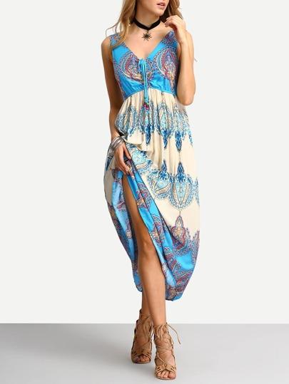 V Neck Vintage Print Lace Up Beach Dress