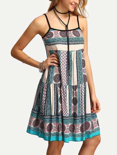 Spaghetti Strap Drop Waist Print Dress