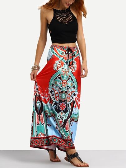 Falda Maxi estampada tribal con cintura de borla