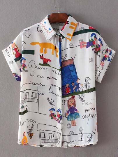 White Roll Cuff Cartoon House Print Chiffon Blouse