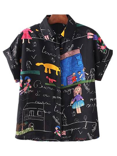 Black Roll Cuff Cartoon House Printing Chiffon Blouse
