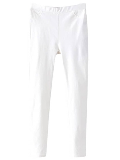 White Pockets Elastic Waist Skinny Pants