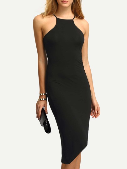 Black Cut Away Irregular Dress