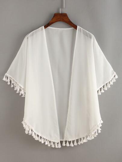 Chiffon Kimono mit Quaste - weiß