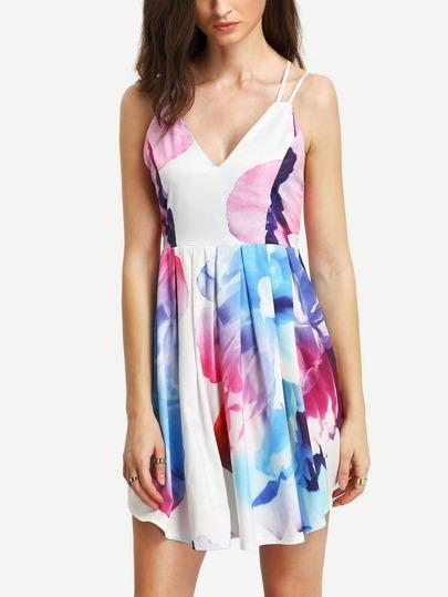 Crisscross Back Florals Pleated Dress