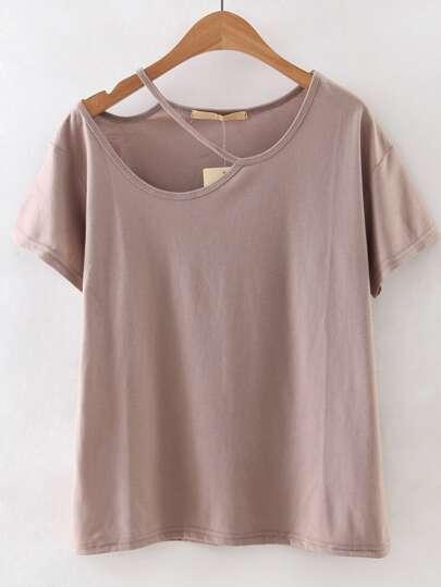 Brown Cold Shoulder Cut Out Short Sleeve T-shirt