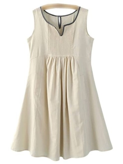 Apricot High Waist Pockets Cotton Hemp Pleated Dress