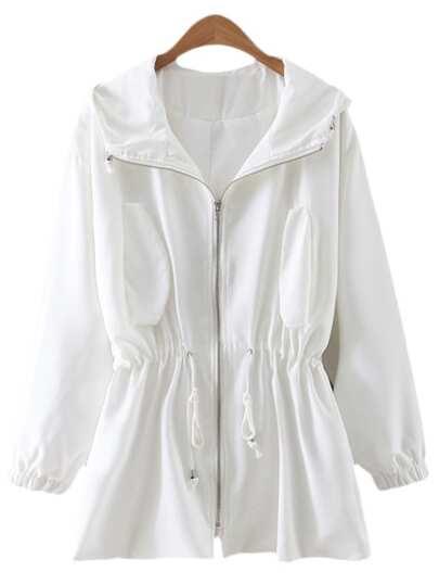 White Drawstring Zipper Front Sunscreen Hooded Outerwear