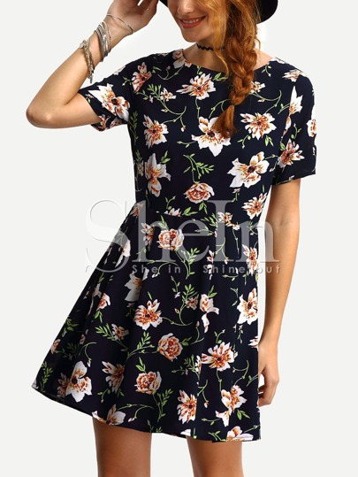 Short Sleeve Flower Print A-Line Dress