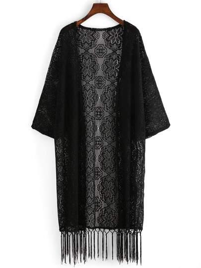 Black Fringe Hem Crochet Overall Kimono