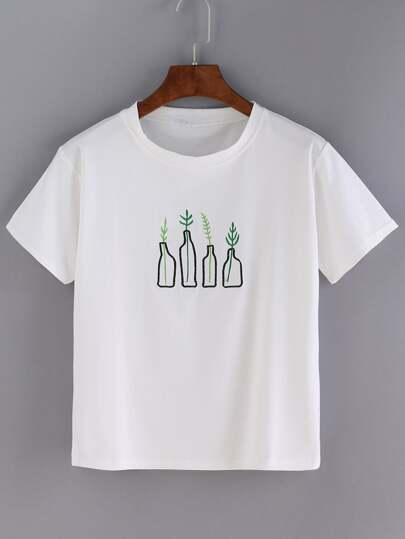 White Bottle Embroidered Short Sleeve T-shirt