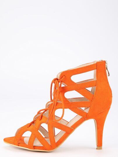 Sandalias faux suede cordón -naranja